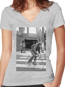 Alberta Rose Theater and Bike Women's Fitted V-Neck T-Shirt
