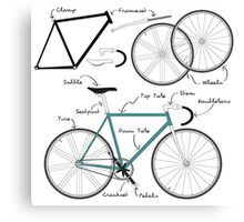 Fixie Bike anatomy Canvas Print
