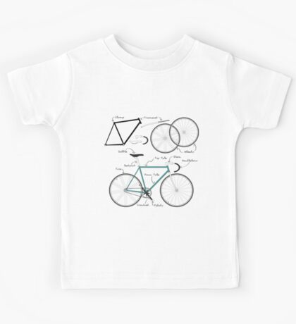 Fixie Bike anatomy Kids Tee