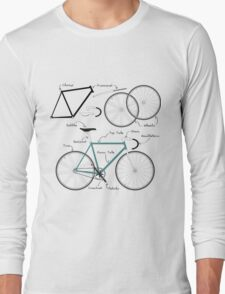 Fixie Bike anatomy Long Sleeve T-Shirt