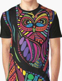 Psychedelic Color Owl on Patterns Graphic T-Shirt