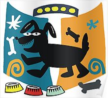 Abstract cartoon dog in black, blue and orange Poster