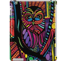 Psychedelic Color Owl on Patterns iPad Case/Skin