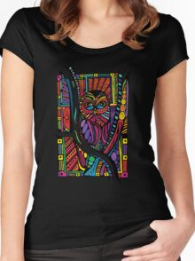 Psychedelic Color Owl on Patterns Women's Fitted Scoop T-Shirt