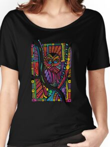 Psychedelic Color Owl on Patterns Women's Relaxed Fit T-Shirt