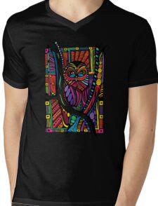 Psychedelic Color Owl on Patterns Mens V-Neck T-Shirt
