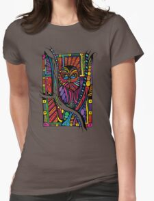 Psychedelic Color Owl on Patterns Womens Fitted T-Shirt