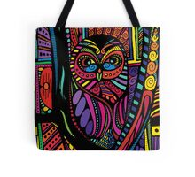 Psychedelic Color Owl on Patterns Tote Bag
