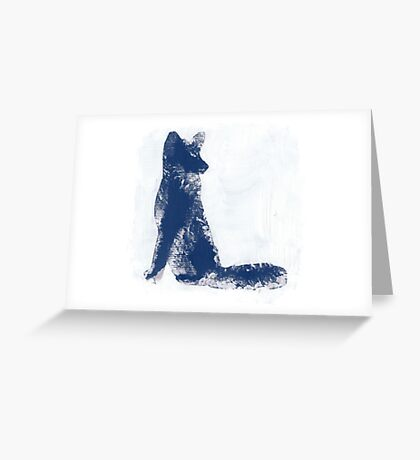 Navy Blue Finger Painted Arctic Fox Greeting Card