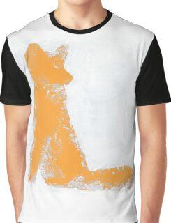 Orange Finger Painted Arctic Fox Graphic T-Shirt