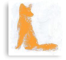 Orange Finger Painted Arctic Fox Canvas Print