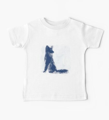 Navy Blue Finger Painted Arctic Fox Baby Tee