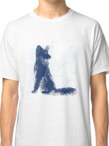 Navy Blue Finger Painted Arctic Fox Classic T-Shirt