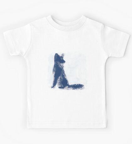 Navy Blue Finger Painted Arctic Fox Kids Tee