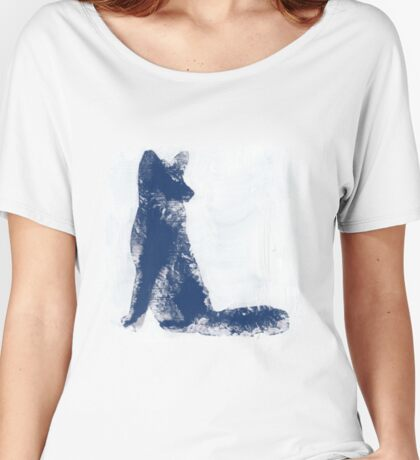 Navy Blue Finger Painted Arctic Fox Women's Relaxed Fit T-Shirt