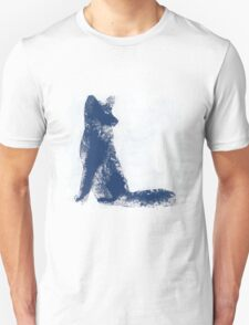 Navy Blue Finger Painted Arctic Fox T-Shirt