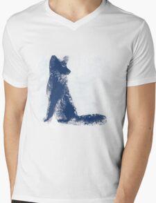 Navy Blue Finger Painted Arctic Fox Mens V-Neck T-Shirt