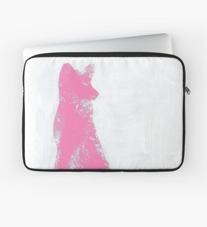 Pink Finger Painted Arctic Fox Laptop Sleeve