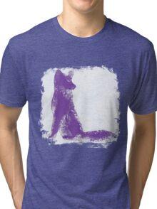 Purple Finger Painted Arctic Fox Tri-blend T-Shirt