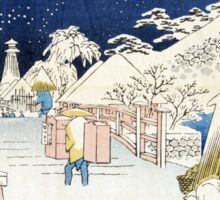 Hiroshige Bikuni Bridge in Snow, Meisho Edo Hyakkei Sticker