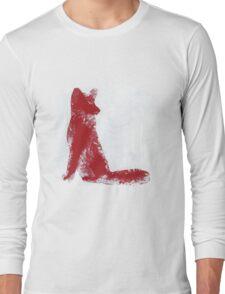 Fuchsia Finger Painted Arctic Fox Long Sleeve T-Shirt