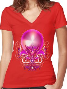 Pink Elegance Women's Fitted V-Neck T-Shirt