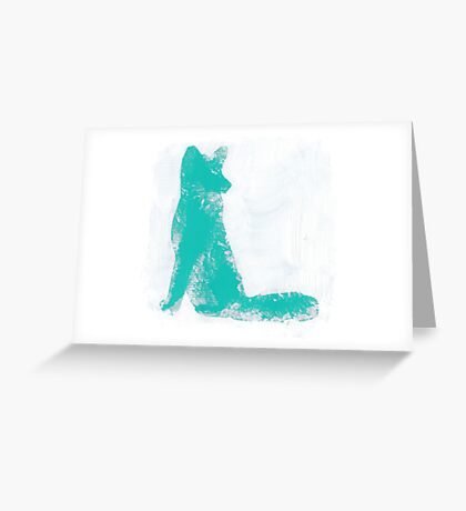Teal Finger Painted Arctic Fox Greeting Card
