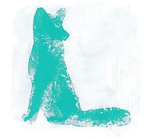 Teal Finger Painted Arctic Fox Photographic Print