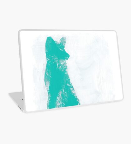 Teal Finger Painted Arctic Fox Laptop Skin