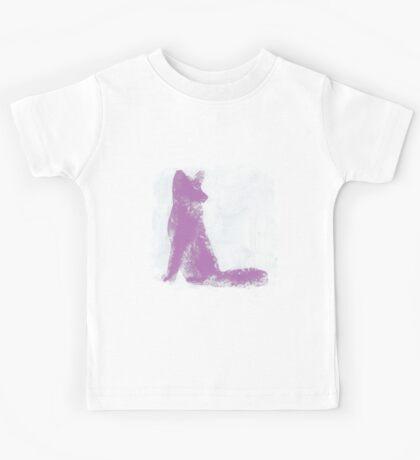 Violet Finger Painted Arctic Fox Kids Tee