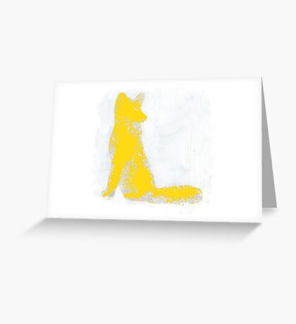 Yellow Finger Painted Arctic Fox Greeting Card