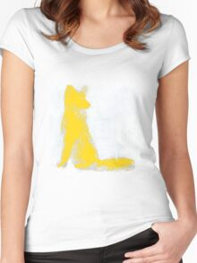 Yellow Finger Painted Arctic Fox Women's Fitted Scoop T-Shirt