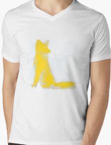 Yellow Finger Painted Arctic Fox Mens V-Neck T-Shirt
