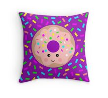 Donut - Foodie Face Throw Pillow