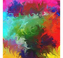 abstract art red orange pink green Photographic Print