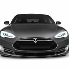 Gray Tesla Model S luxury electric car front view isolated on white art photo print by ArtNudePhotos