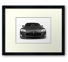 Gray Tesla Model S luxury electric car front view isolated on white art photo print Framed Print