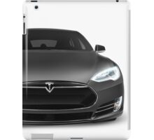 Gray Tesla Model S luxury electric car front view isolated on white art photo print iPad Case/Skin