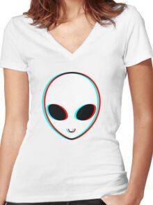 Trippy Alien Women's Fitted V-Neck T-Shirt