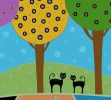 Black Cats - Colorful Landscape Sticker