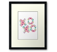 XOXO Watercolor Floral Typography Art Framed Print