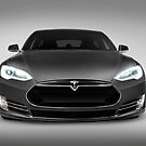 Gray Tesla Model S luxury electric car front view art photo print by ArtNudePhotos