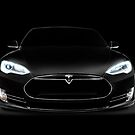Black Tesla Model S luxury electric car front view art photo print by ArtNudePhotos