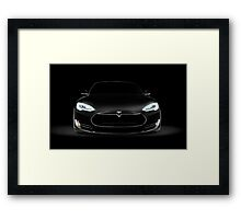 Black Tesla Model S luxury electric car front view art photo print Framed Print