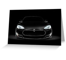 Black Tesla Model S luxury electric car front view art photo print Greeting Card
