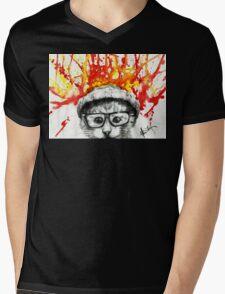 Kitty Geeking Mens V-Neck T-Shirt