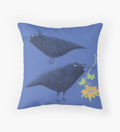 Lovebirds with flower courtship Throw Pillow