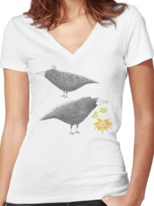 Lovebirds with flower courtship Women's Fitted V-Neck T-Shirt