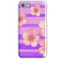 Pink Flowers Purple Stripes for Baby Room iPhone Case/Skin