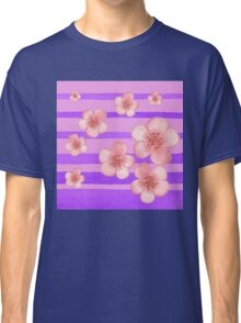 Pink Flowers Purple Stripes for Baby Room Classic T-Shirt
